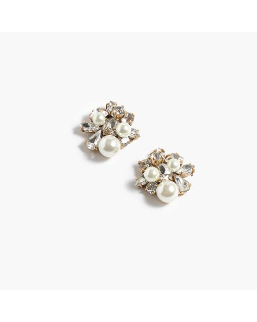 J.Crew | Natural Pearl And Crystal Earrings | Lyst