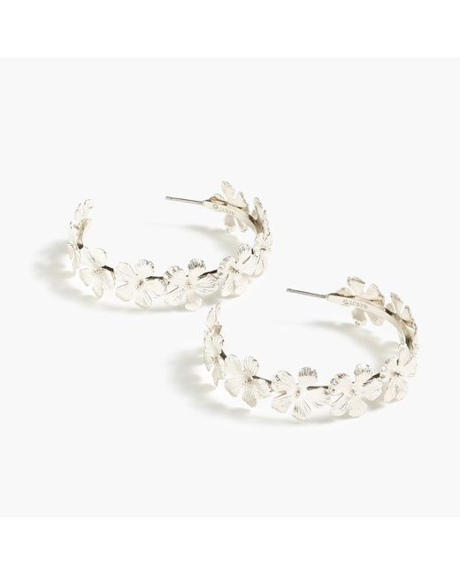 J.Crew - Metallic Pansy Hoop Earrings - Lyst