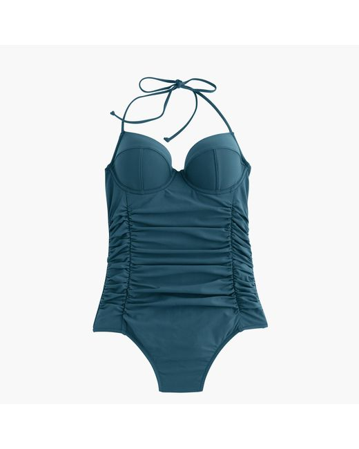J.Crew | Blue D-cup Halter Underwire One-piece Swimsuit | Lyst