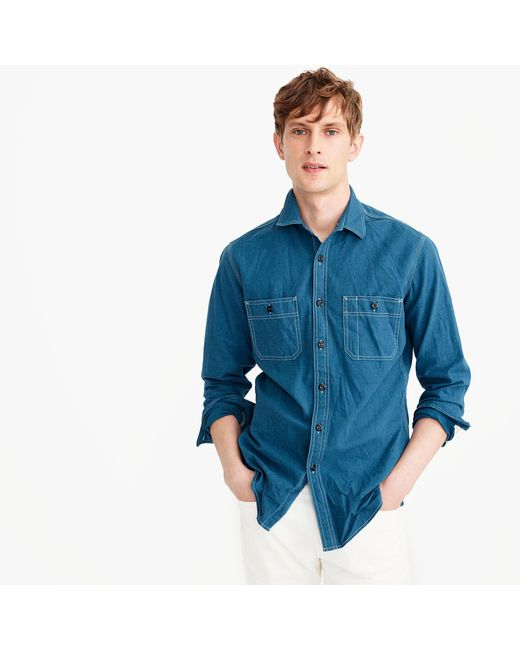 J.Crew | Blue Wallace & Barnes Brushed Mélange Denim Workshirt for Men | Lyst