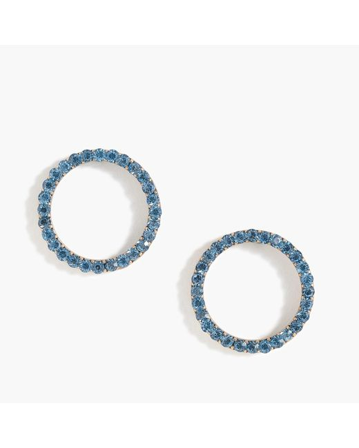 J.Crew - Blue Pave Circle Earrings - Lyst
