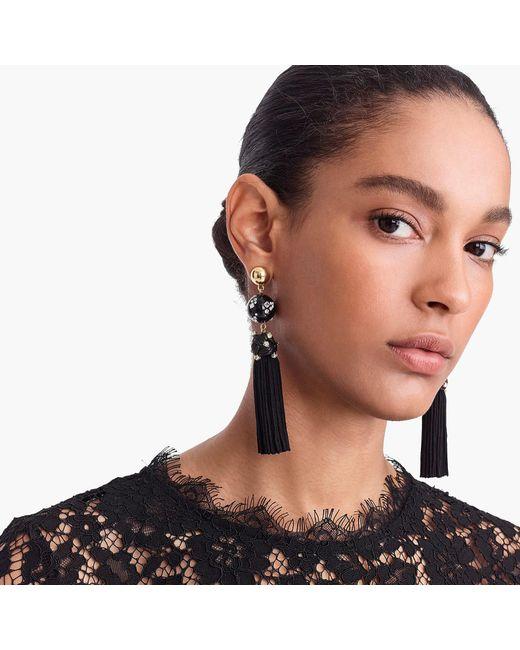 J.Crew - Black Crystal-studded Bead And Tassel Earrings - Lyst