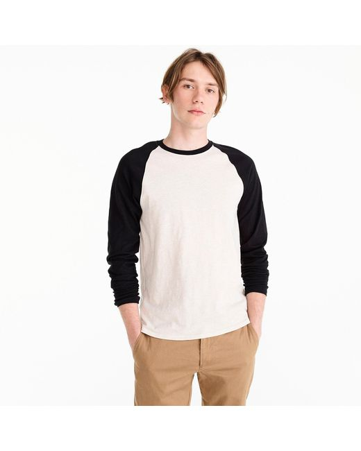 J.Crew - Black Slub Jersey Baseball T-shirt for Men - Lyst