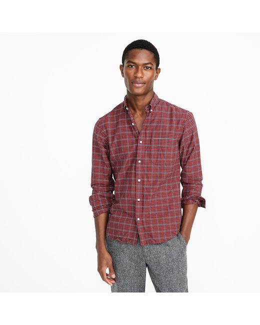 Tall American Pima Cotton Oxford Shirt In Red Plaid