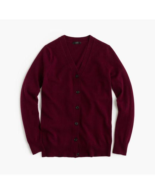 J.Crew   Red Classic V-neck Cardigan Sweater   Lyst