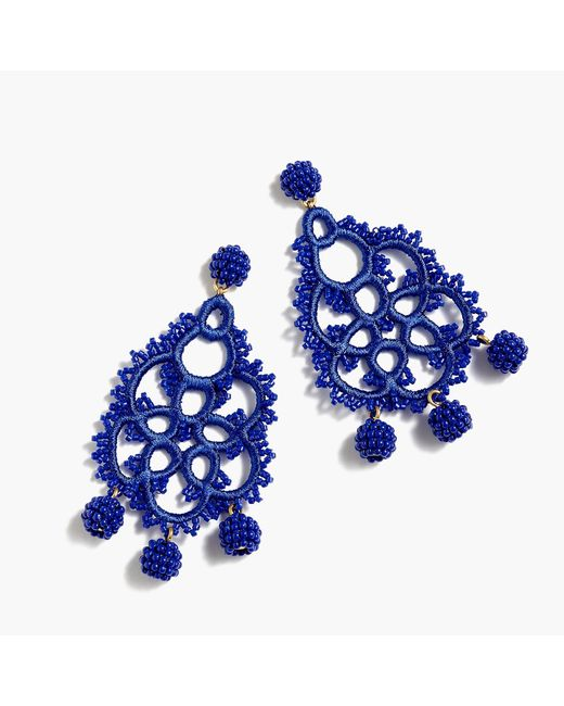 J.Crew - Blue Bead-and-embroidery Earrings - Lyst