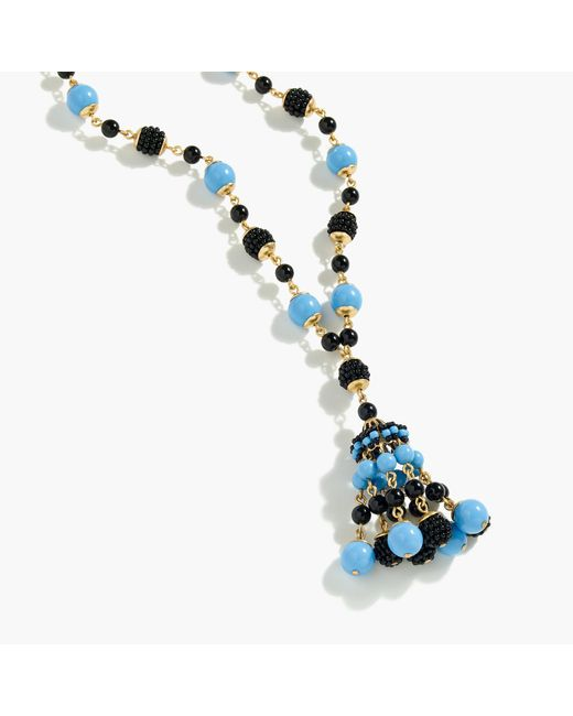 J.Crew | Blue Beaded Drop Necklace | Lyst