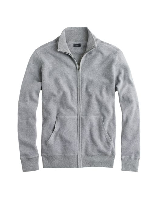 J.Crew | Gray Cotton-cashmere Zip Sweater-jacket for Men | Lyst