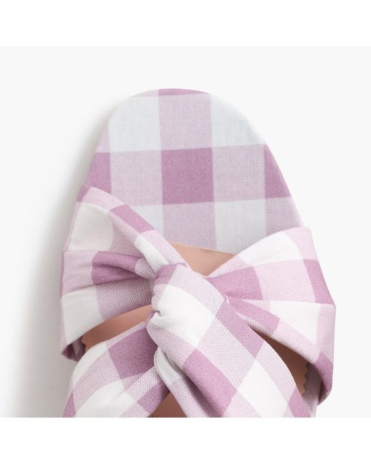 J.Crew Pink Twisted Knot Penny Sandals In Gingham With Glitter Heel