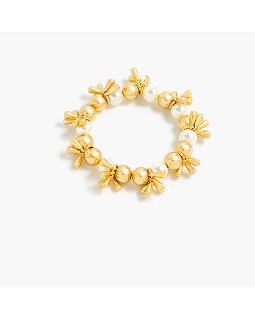 J.Crew | Metallic Bead And Pearl Stretch Bracelet | Lyst