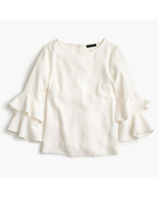 J.Crew   White Tiered Bell-sleeve Top In Drapey Crepe   Lyst