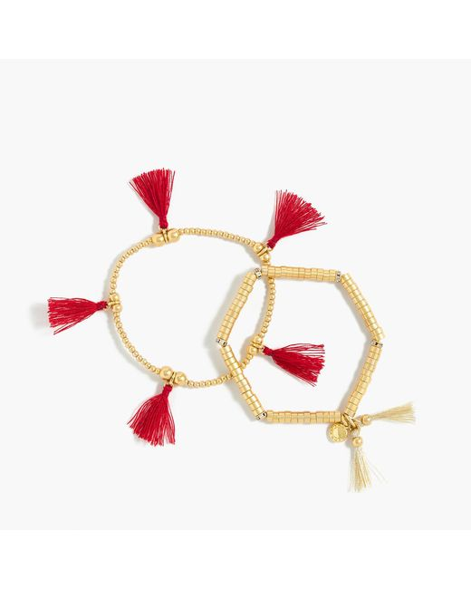 J.Crew - Multicolor Bead And Tassel Bracelet Set - Lyst
