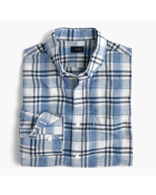 J.Crew | Blue End-on-end Cotton-linen Shirt In Plaid for Men | Lyst