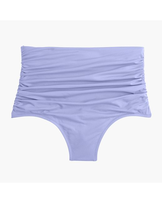 J.Crew | Blue High-waisted Ruched Bikini Bottom | Lyst