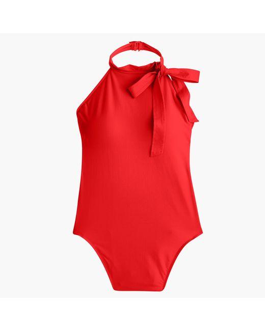 J.Crew   Red Halter Bow-tie One-piece Swimsuit   Lyst