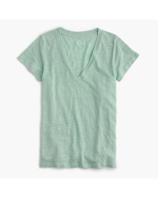 J.Crew   Green New Linen T-shirt   Lyst