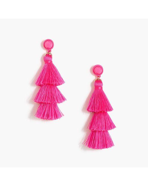 J.Crew - Pink Triple Tassel Earrings - Lyst