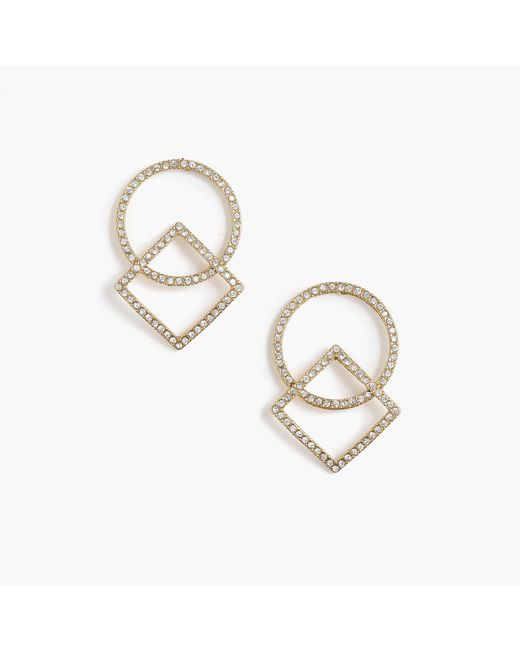 J.Crew - Multicolor Pavé Circle And Square Earrings - Lyst