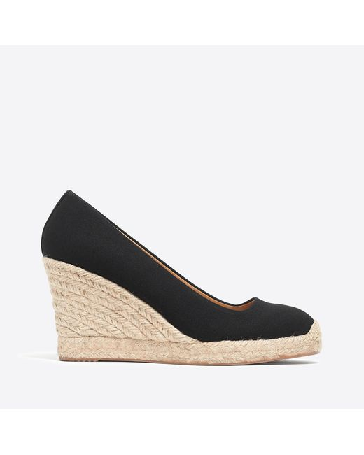 d6f5a60c707 Lyst - J.Crew Canvas Espadrille Wedges in Black