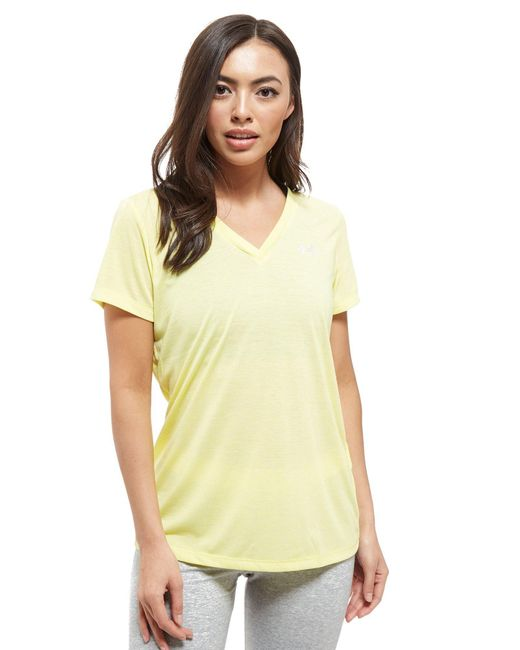 Under Armour - Yellow Threadborne V-neck Short Sleeve T-shirt - Lyst