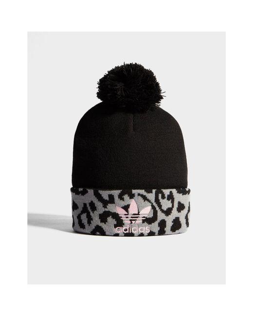 a34e894b844 Adidas Originals - Black Pom Leopard Beanie for Men - Lyst ...