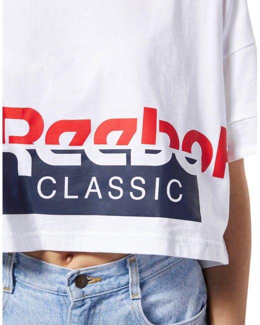 3731679dfd3c2f ... Reebok - White Classics Cropped Tee - Lyst ...