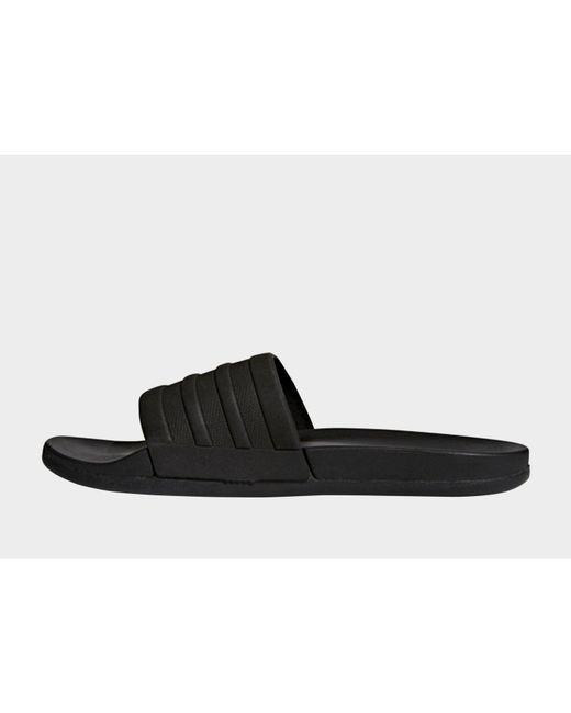 new product 8129b c4a1e Adidas - Black Adilette Cloudfoam Plus Mono Slides for Men - Lyst ...