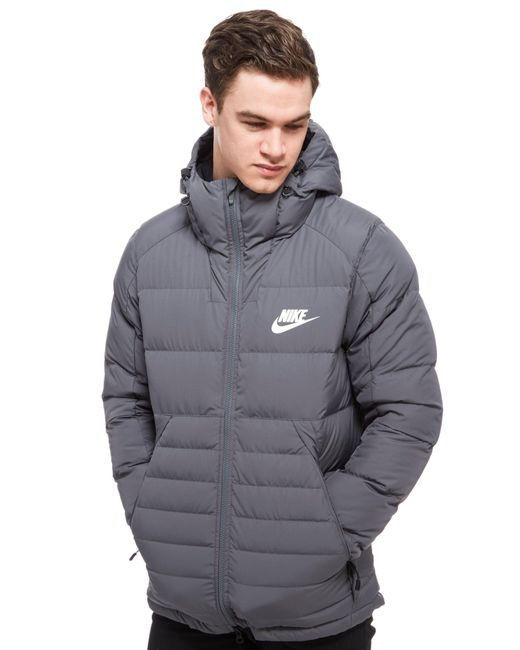 Nike Padded Down Hooded Jacket in Grey for Men
