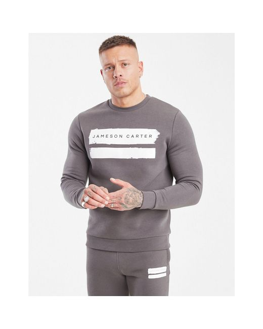 b0118a3fb73 Jameson Carter - Gray Paint Stripe Sweatshirt for Men - Lyst ...