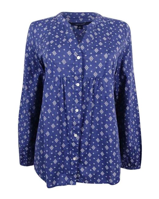 Tommy Hilfiger - Dotty Printed Split-neck Shirt (blue Indigo - Lyst