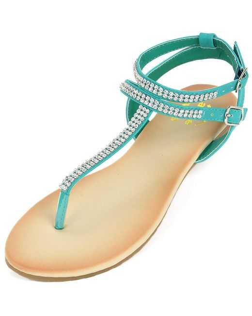 Alpine Swiss | Blue Gladiator Sandals T-strap Slingback Roman Rhinestone Flats | Lyst