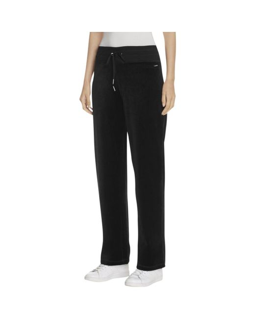 Calvin Klein   Black Womens Wide Leg Drawstring Velour Pants   Lyst