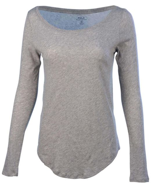 Polo Ralph Lauren | Gray L/s Scoop Neck Pony T-shirt-andover Heather/grey-small | Lyst