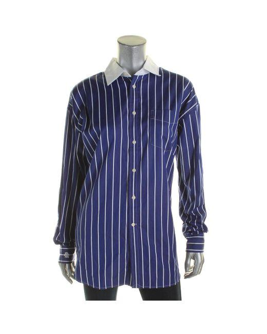 Polo Ralph Lauren | Blue Womens Boyfriend Shirt Striped Long Sleeve Button-down Top | Lyst
