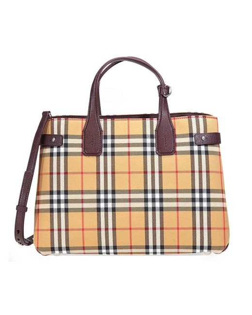 d14a177fe8a0 Burberry - Multicolor Medium Banner Vintage Check And Leather Tote- Deep  Claret - Lyst ...