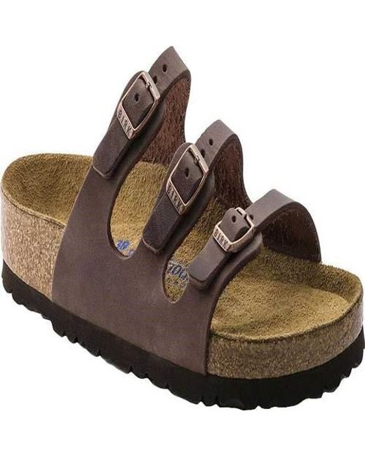 7a27f4534657 Birkenstock - Brown Florida Oiled Leather With Soft Footbed Sandal - Lyst