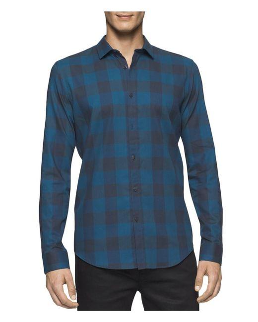 Calvin Klein | Blue Buffalo Check Crepe Shirt for Men | Lyst