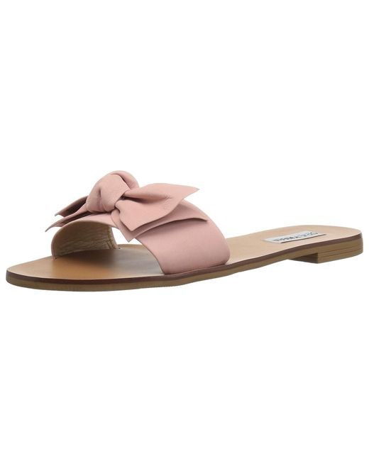Steve Madden - Pink Knotss Leather Open Toe Casual Slide Sandals - Lyst
