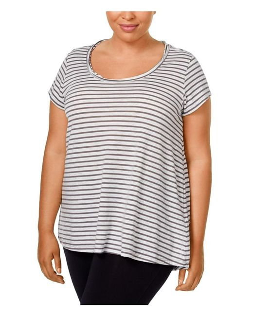Calvin Klein - Gray Womens Striped Hi-lo Graphic T-shirt T0c 2x - Lyst