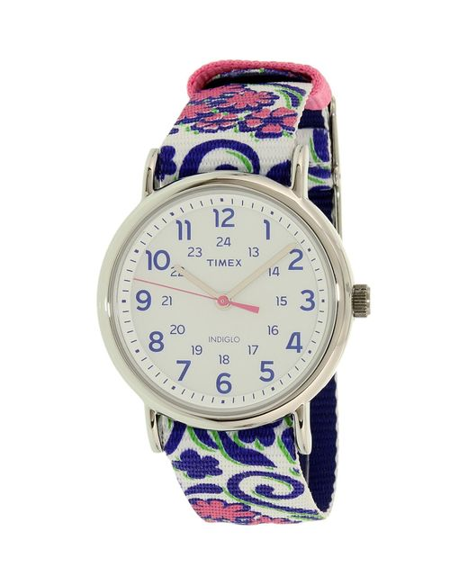 Timex | Womens Weekender Preppy Floral Quartz Brass And Nylon Casual Watch Color:blue (model: Tw2p902009j) | Lyst