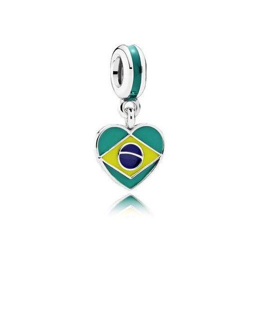 Pandora | Charm Dangle Brazil Heart Flag With Dark Green | Lyst