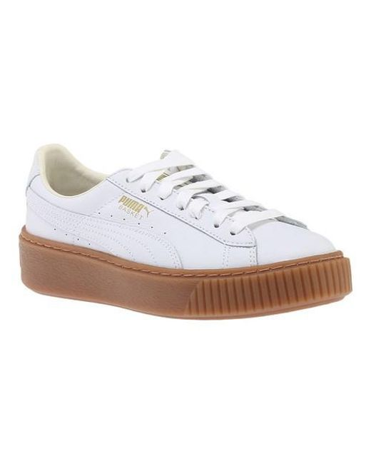 Womens Suede Platform Lunalux WNs Trainers, Beige/White, One Size Fits All Puma