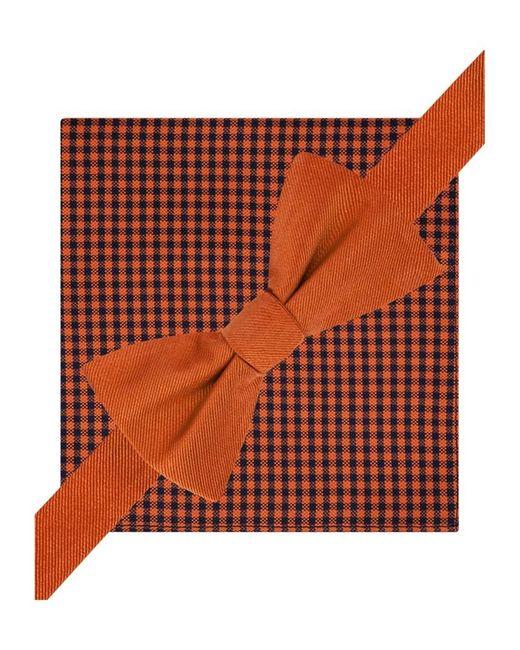 Tommy Hilfiger - Mens Silk Gingham Bow Tie And Pkt Sq Neck Tie Set 800orange Short for Men - Lyst