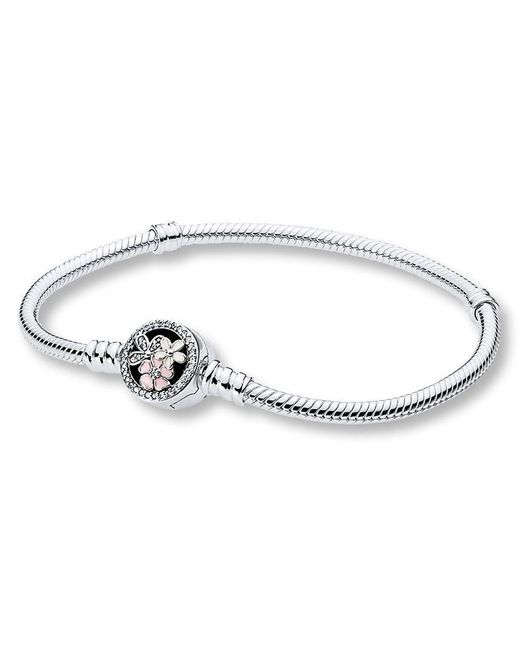 Pandora | Metallic Moments Silver Bracelet With Poetic Blooms Clasp | Lyst