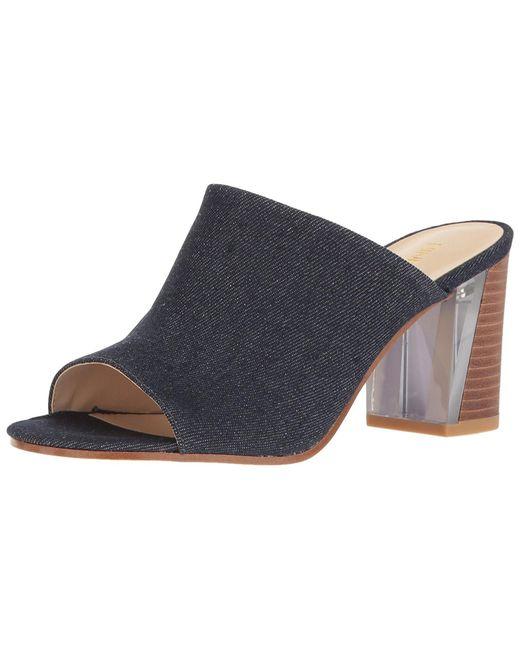 Nine West - Blue Gemily Fabric Open Toe Formal Mule Sandals Navy - Lyst