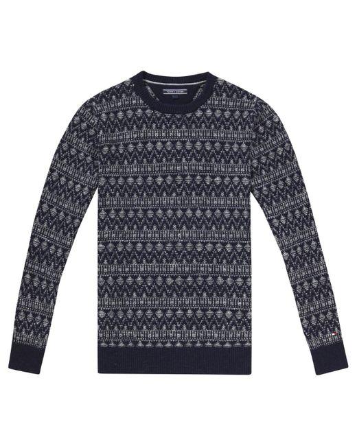 Tommy hilfiger Lambswool Blend Fair Isle Crewneck Sweater Navy ...