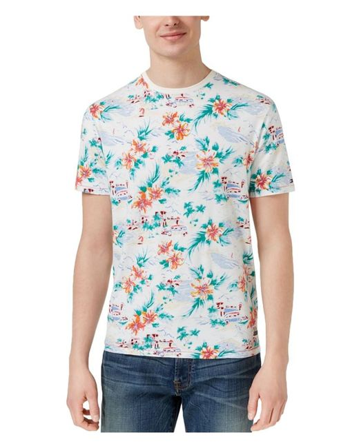 Tommy Hilfiger - Blue Tropical Graphic T-shirt for Men - Lyst