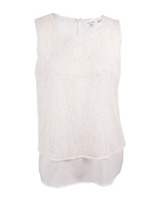 Calvin Klein - White Sleeveless Layered Look Blouse (xl - Lyst