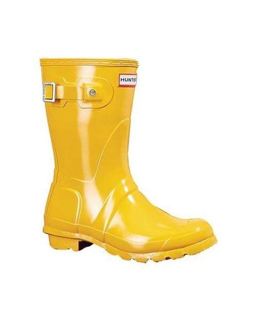 Hunter - Yellow Original Short Gloss Rain Boot - Lyst