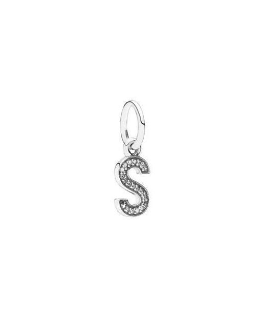 Pandora | Metallic Letter S Pendant Dangle In 925 Sterling Silver W/clear Cubic Zirconia... | Lyst